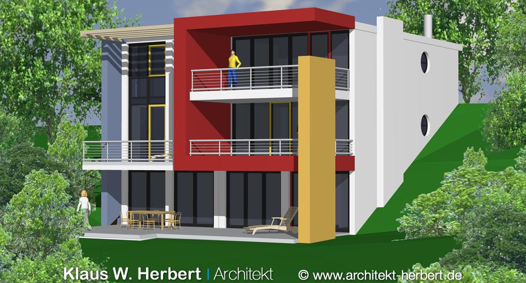 klaus w herbert architekt aschaffenburg doppelhaus farbenfroh. Black Bedroom Furniture Sets. Home Design Ideas